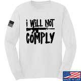 MAC I Will Not Comply Long Sleeve T-Shirt Long Sleeve Small / White by Ballistic Ink - Made in America USA