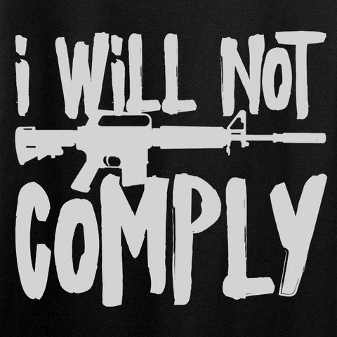 MAC Ladies I Will Not Comply V-Neck T-Shirts, V-Neck [variant_title] by Ballistic Ink - Made in America USA
