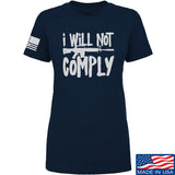 MAC Ladies I Will Not Comply T-Shirt T-Shirts SMALL / Navy by Ballistic Ink - Made in America USA