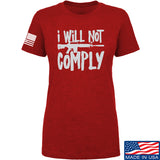 MAC Ladies I Will Not Comply T-Shirt T-Shirts SMALL / Red by Ballistic Ink - Made in America USA