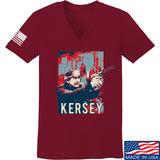 Men of Arms Apparel Ladies Kersey V-Neck T-Shirts, V-Neck SMALL / Cranberry by Ballistic Ink - Made in America USA