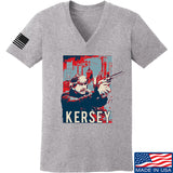 Men of Arms Apparel Ladies Kersey V-Neck T-Shirts, V-Neck SMALL / Light Grey by Ballistic Ink - Made in America USA