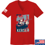 Men of Arms Apparel Ladies Kersey V-Neck T-Shirts, V-Neck SMALL / Red by Ballistic Ink - Made in America USA