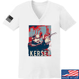 Men of Arms Apparel Ladies Kersey V-Neck T-Shirts, V-Neck SMALL / White by Ballistic Ink - Made in America USA