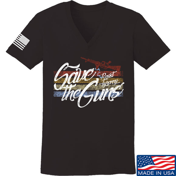 Men of Arms Apparel Ladies Save The Guns V-Neck T-Shirts, V-Neck SMALL / Black by Ballistic Ink - Made in America USA