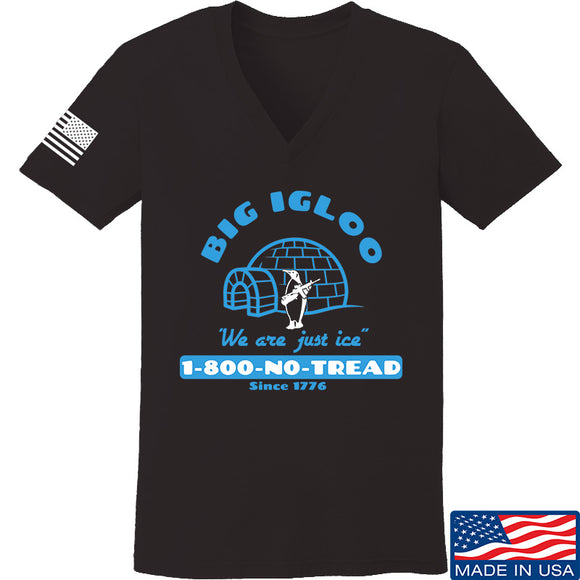 Men of Arms Apparel Ladies The Big Igloo V-Neck T-Shirts, V-Neck SMALL / Black by Ballistic Ink - Made in America USA