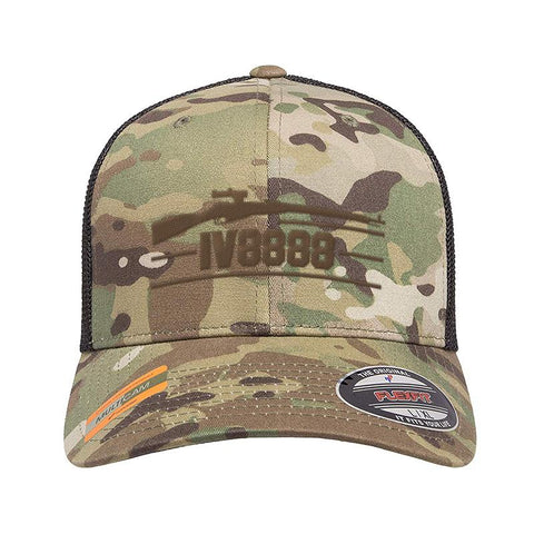 IV8888 IV8888 Logo Flexfit® Multicam® Trucker Mesh Cap Headwear Multicam by Ballistic Ink - Made in America USA