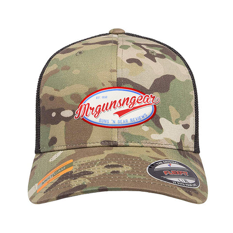 Mrgunsngear Mrgunsngear Logo Flexfit® Multicam® Trucker Mesh Cap Headwear Multicam by Ballistic Ink - Made in America USA