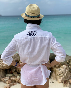 Monogrammed White Button Down Beach Shirt
