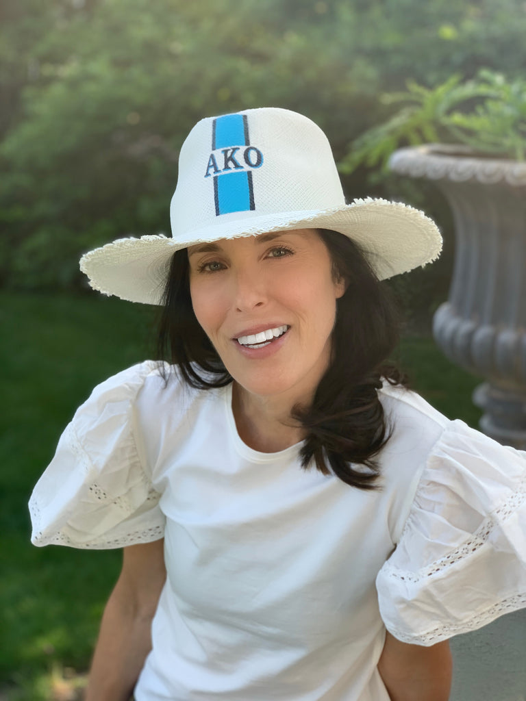 Monogrammed Handpainted Frayed Edge Panama Hat