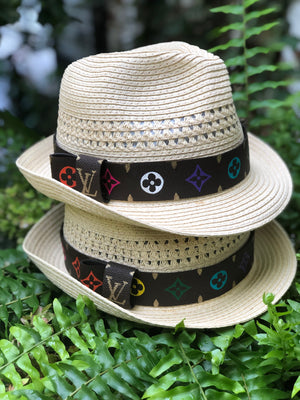 Handpainted & Repurposed LV Rainbow Fedora