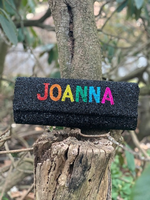 Rainbow Name Beaded Clutch