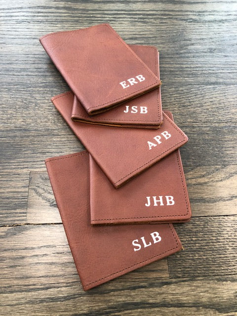 Embossed Monogrammed Leather Passport Holder