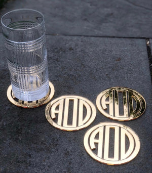 Monogrammed Mirror Cut Out Coasters