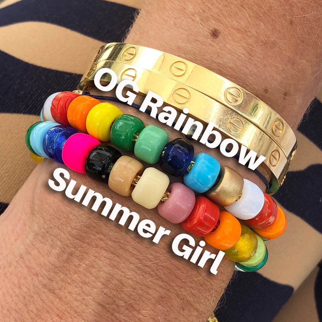 Rainbow Glass Bracelet 1 Letter Personalized