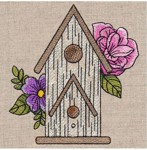 Charming Birdhouse and Blooms