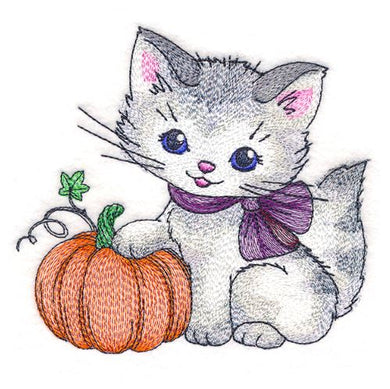 Pretty Kitty with Pumpkin