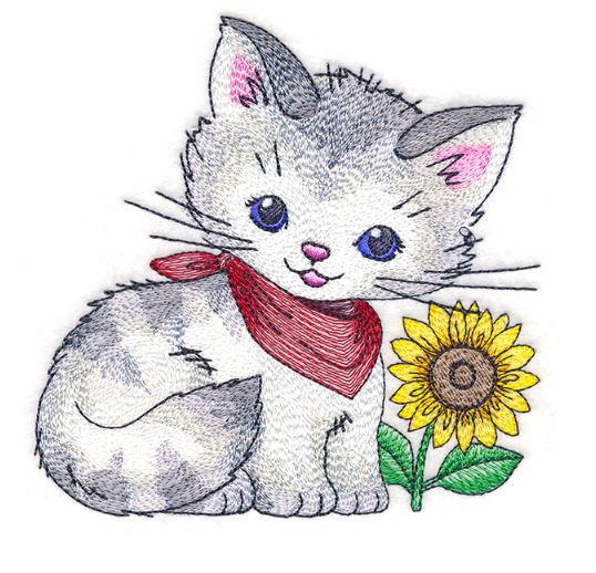 Pretty Kitty with Sunflower