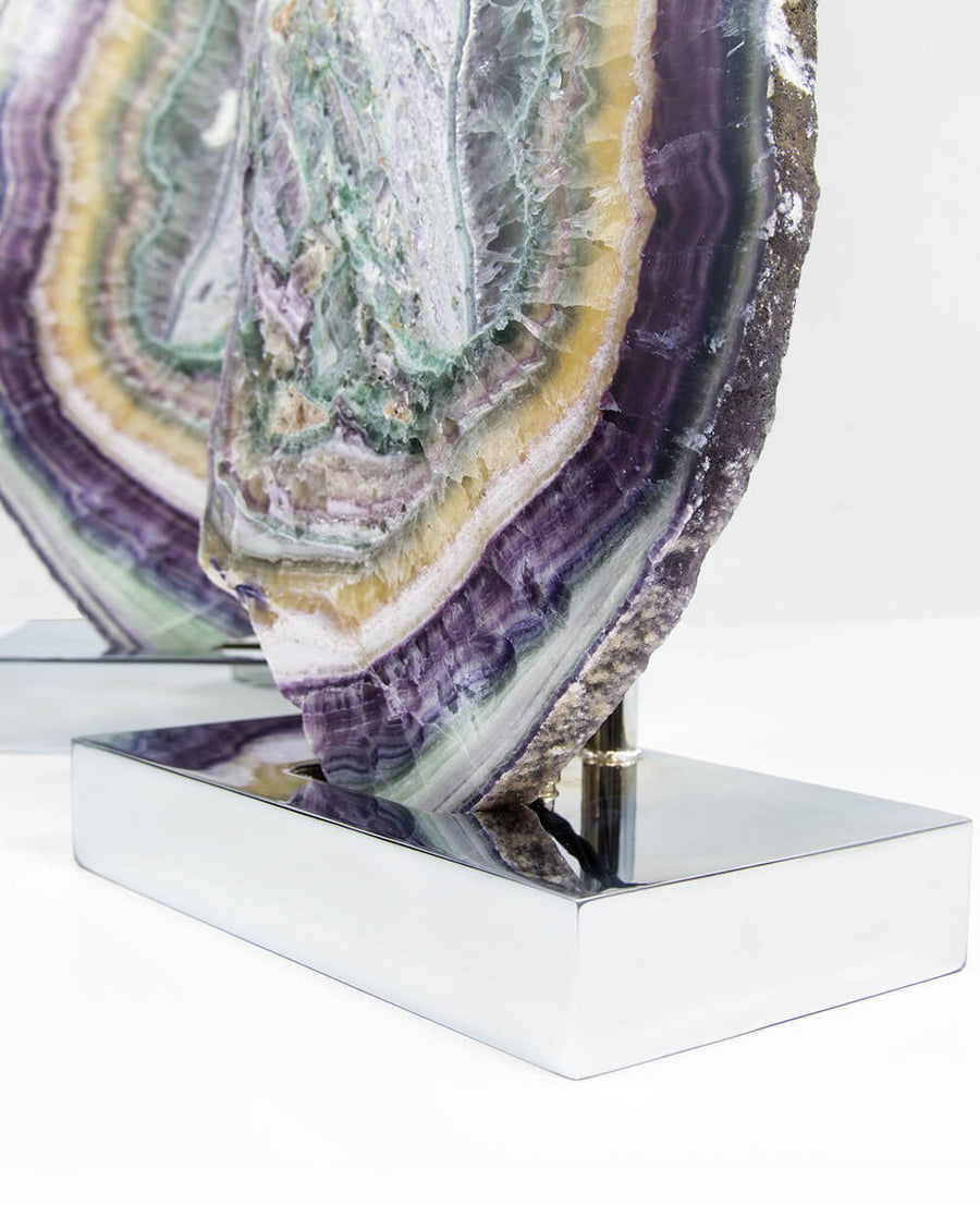 Fluorite Mineral Lamps on Chrome 1.7ft