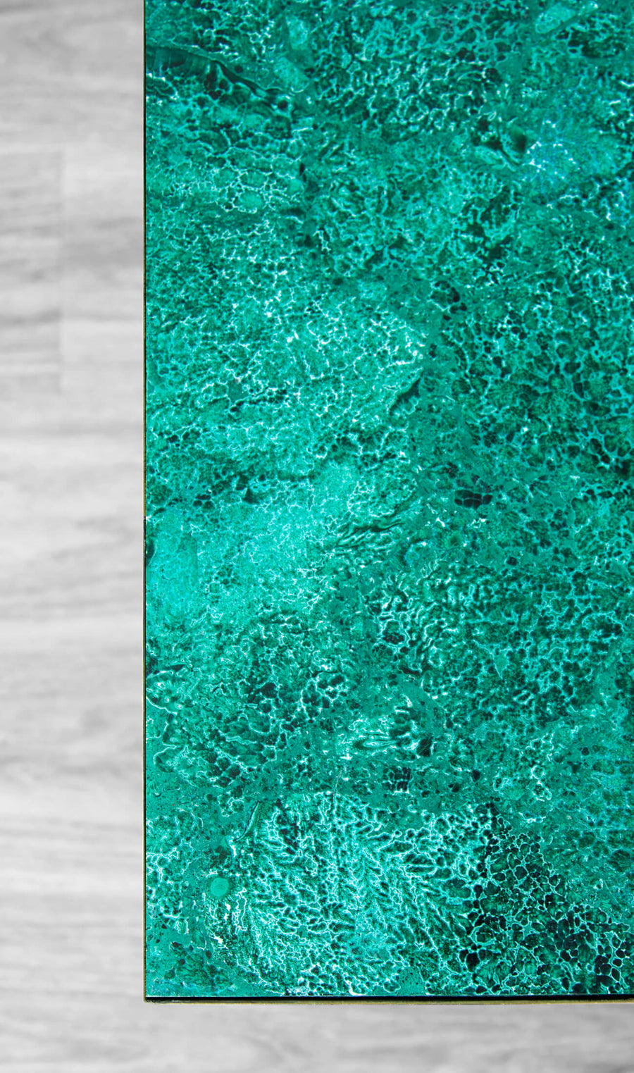 Malachite + AES Brass Base Side Tables
