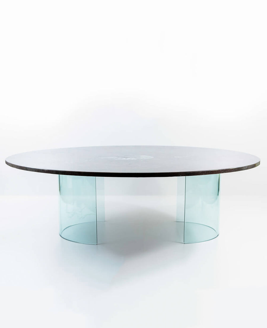 Round Devonian Fossil Table 1290mm