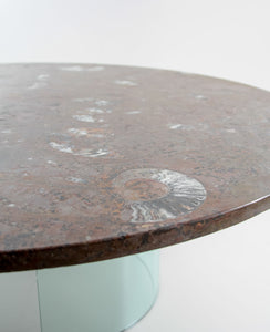 Round Devonian Fossil Table 1200mm