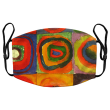 Load image into Gallery viewer, Squares with Concentric Circles by Wassily Kandinsky Reusable Premium Face Mask Cover with Filters