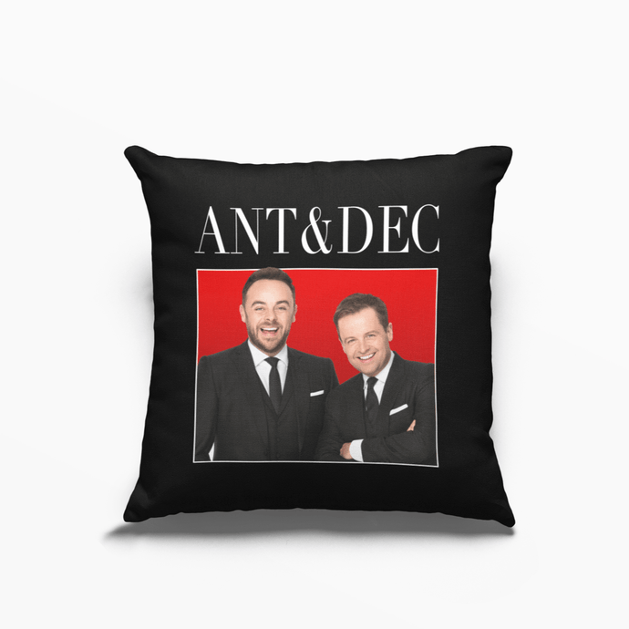 Ant & Dec Poly Linen Throwback Cushion - Timeless Tees