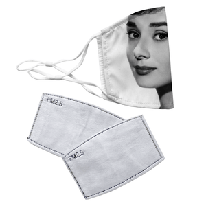 Audrey Hepburn Reusable Decorative Face Mask with Filters - Timeless Tees