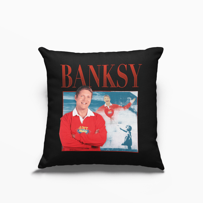 Banksy Neil Buchanan Art Attack Poly Linen Throwback Cushion - Timeless Tees