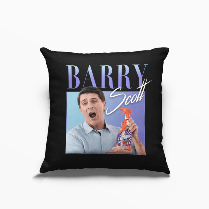 Barry Scott Cillit Bang Poly Linen Throwback Cushion - Timeless Tees