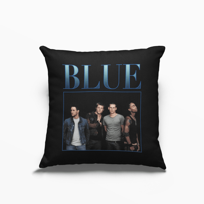 Blue Boy Band Poly Linen Throwback Cushion - Timeless Tees