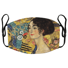 Load image into Gallery viewer, Dame mit Facher by Gustav Klimt Reusable Premium Face Mask Cover with Filters - Timeless Tees