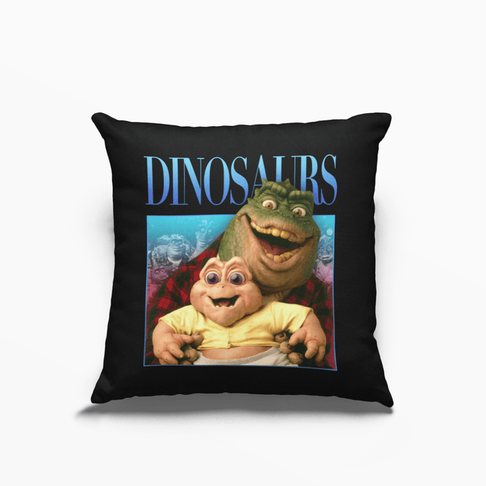 Dinosaurs Retro Poly Linen Throwback Cushion - Timeless Tees