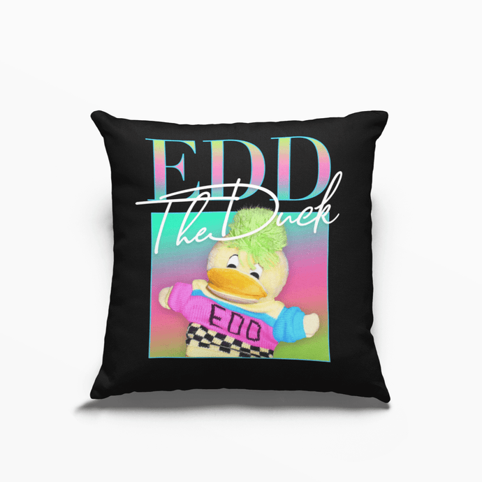 Edd the Duck 80s Retro Poly Linen Throwback Cushion - Timeless Tees