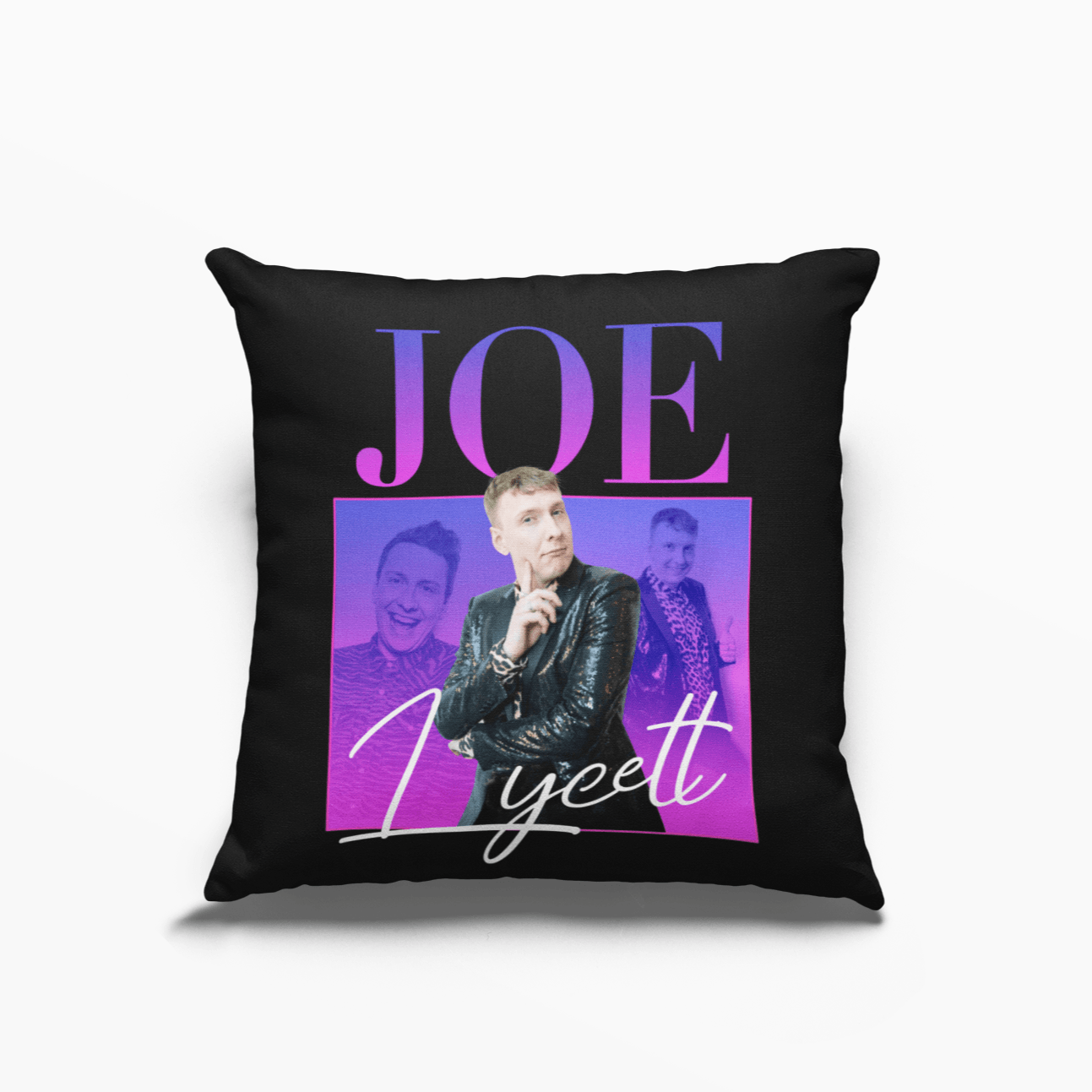 Joe Lycett Poly Linen Throwback Cushion - Timeless Tees