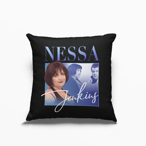 Nessa Jenkins Gavin and Stacey Poly Linen Throwback Cushion - Timeless Tees