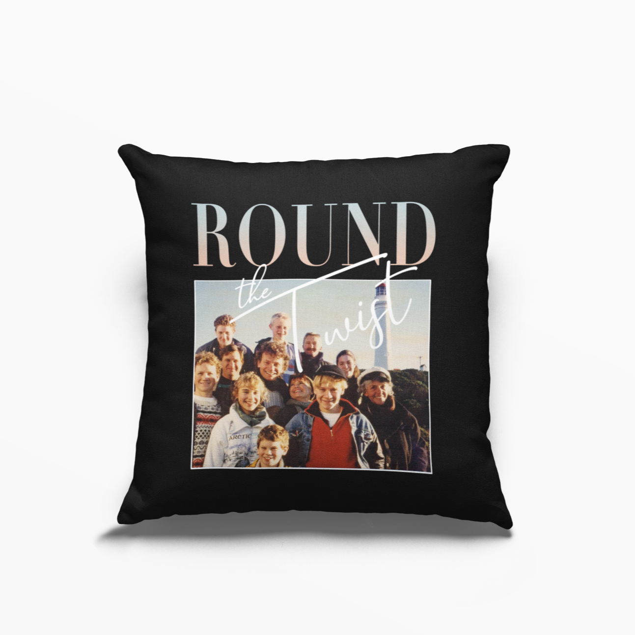 Round the Twist Retro Poly Linen Throwback Cushion
