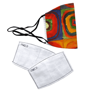 Squares with Concentric Circles by Wassily Kandinsky Reusable Premium Face Mask Cover with Filters - Timeless Tees