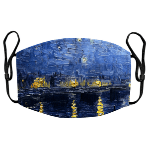 Starry Night Over The Rhone by Van Gogh Reusable Premium Face Mask Cover with Filters - Timeless Tees
