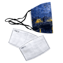 Load image into Gallery viewer, Starry Night Over The Rhone by Van Gogh Reusable Premium Face Mask Cover with Filters - Timeless Tees