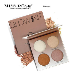 Miss Rose 4 Couleurs  Base Maquillage Glow Kit Palette Surligneur illumination