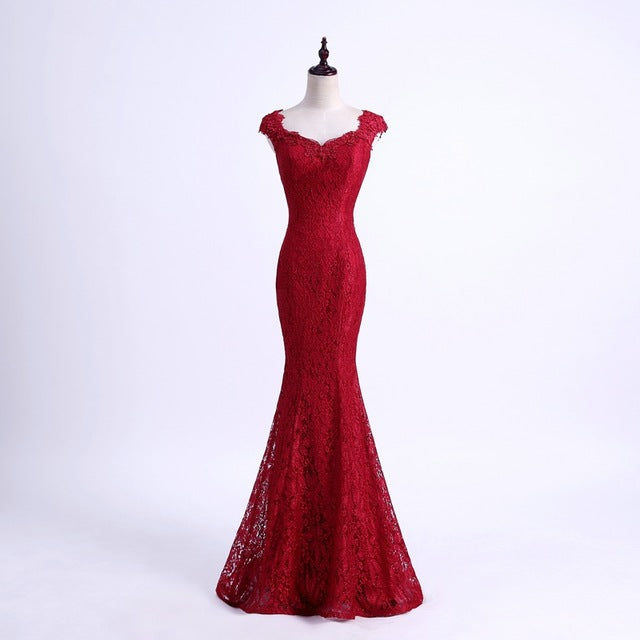 YIDINGZS Elegant Beads Lace Mermaid Long Evening Dress 2018 Simple Wine Red Party Dresses Robe De Soiree Longue - glamuro-fashion.com