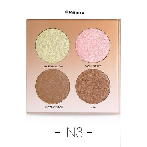 Miss Rose 4 Couleurs  Base Maquillage Glow Kit Palette Surligneur illumination - glamuro-fashion.com