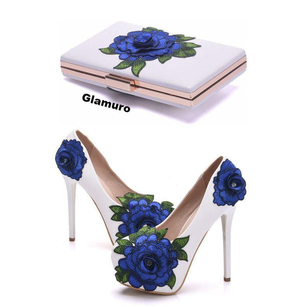Crystal Queen Blue Lace Flower Bride Chaussures à talons hauts - glamuro-fashion.com