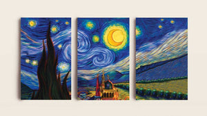 Van Gogh Starry Night Decoración de pared en lienzo en 3 partes