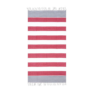 Red & White | Striped Beach Towel | %100 Turkish Cotton | Absorbent & Quick Dry - Hencely