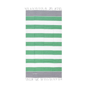 Striped Beach Towel Green and White