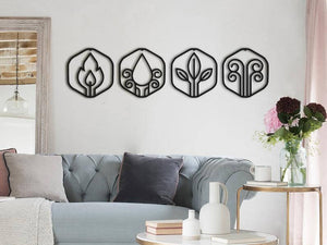4 Elements Metal Wall Art Decor - Four Elements of Nature Metal Art - Hencely