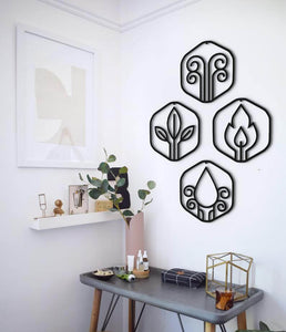 Four elements metal wall art - Hencely